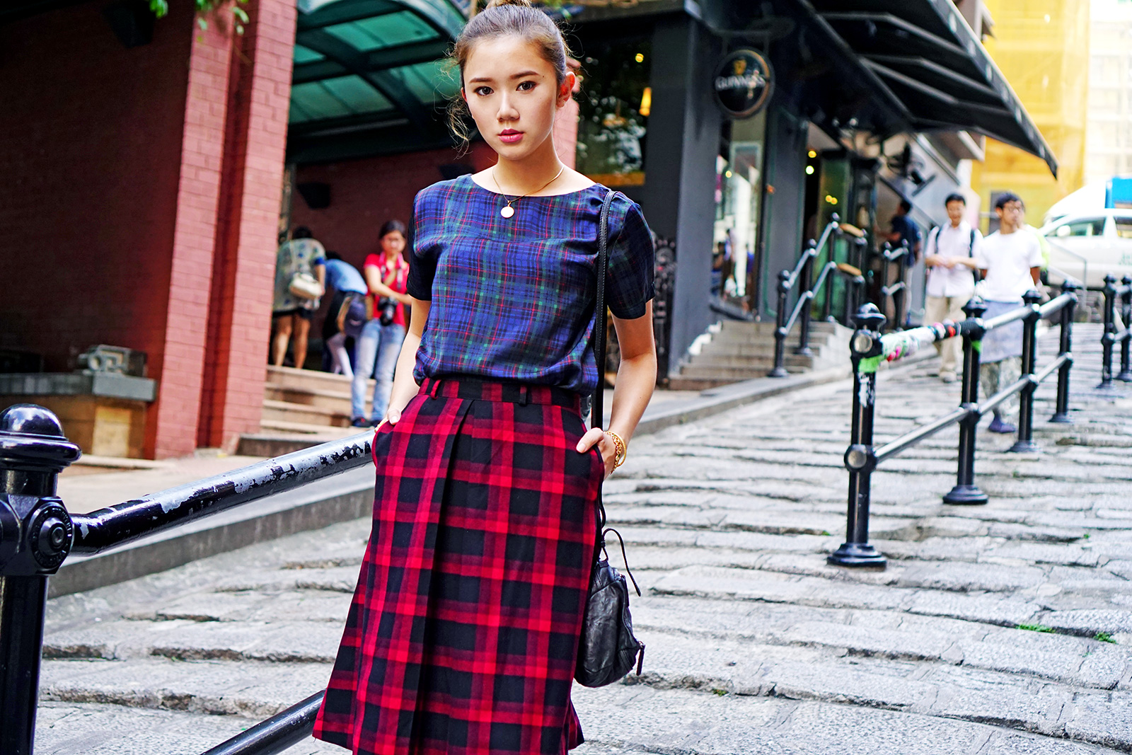 Plaid On Plaid Fashion at Hong Kong By Camille Co