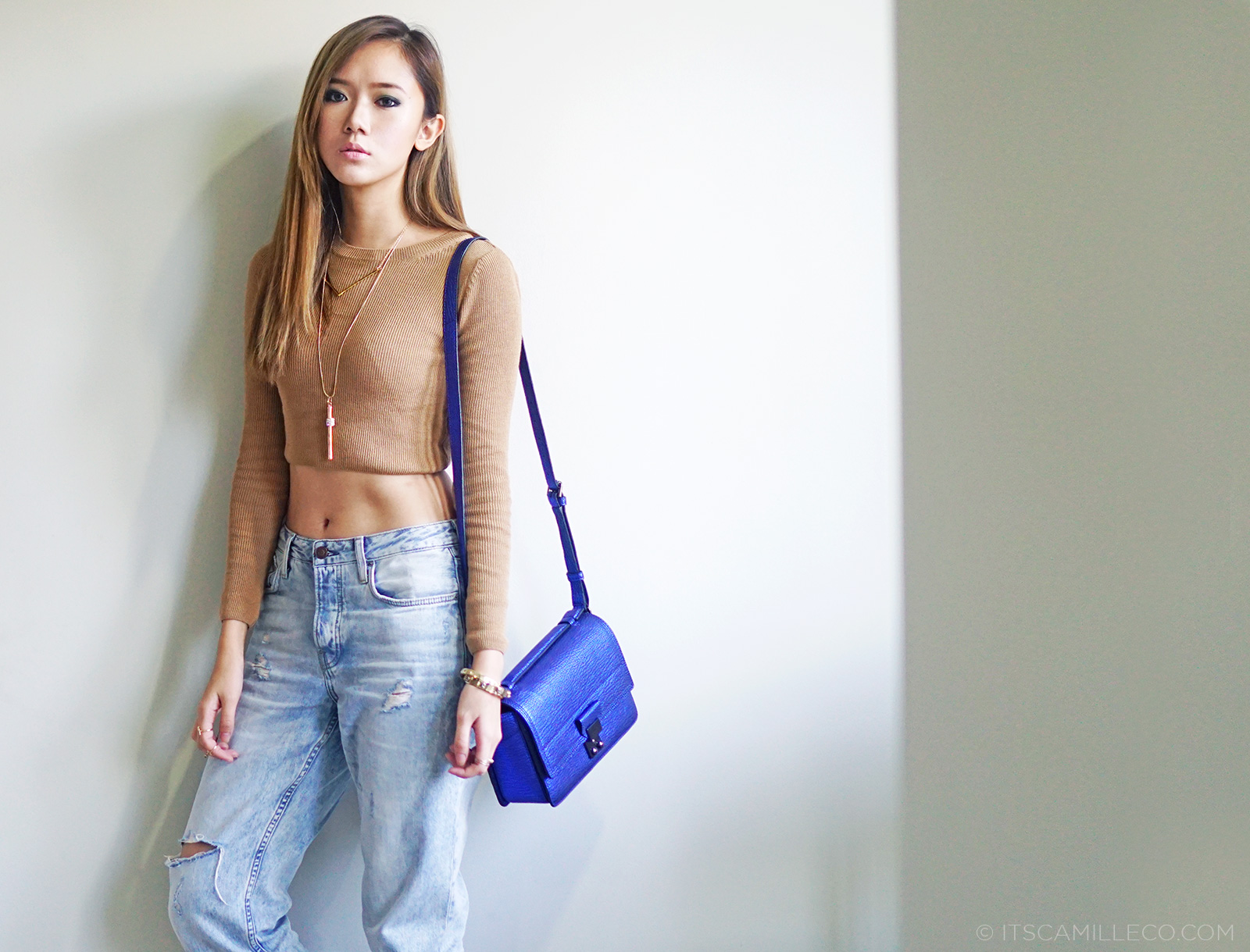 Topshop Cropped Top and Baggy Jeans, 3.1 Phillip Lim Pashli Mini, Native Boots | www.itscamilleco.com