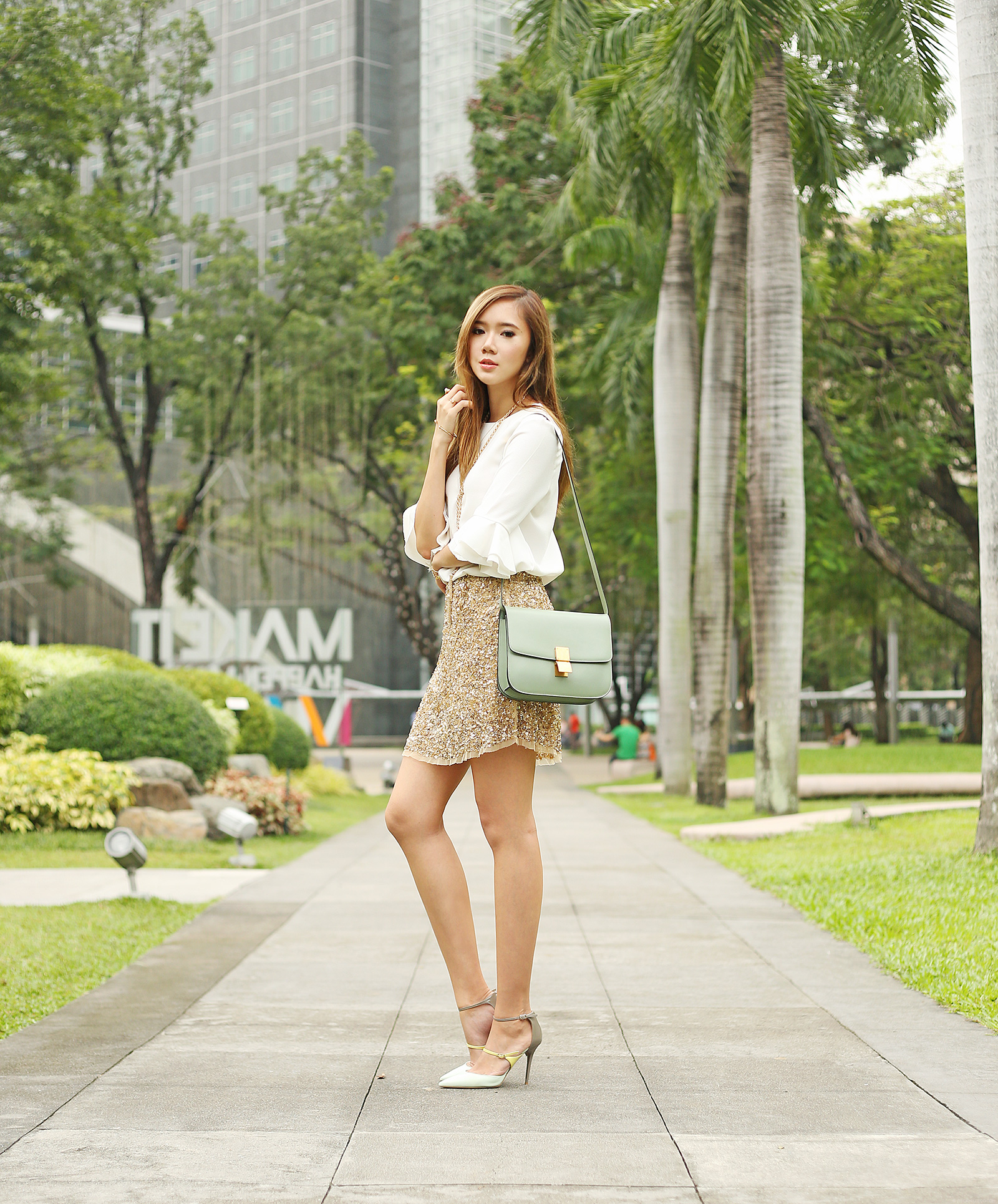 Romwe top, Zara skirt, Celine bag, Jimmy Choo heels | www.itscamilleco.com