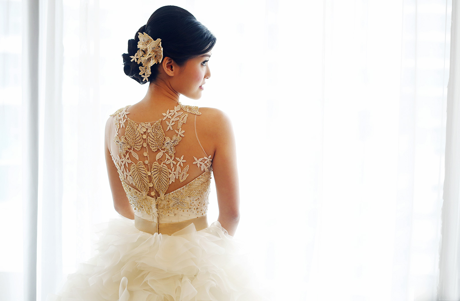Coexist By Camille Co Bridall: Lace and gold wedding gown | www.itscamilleco.com