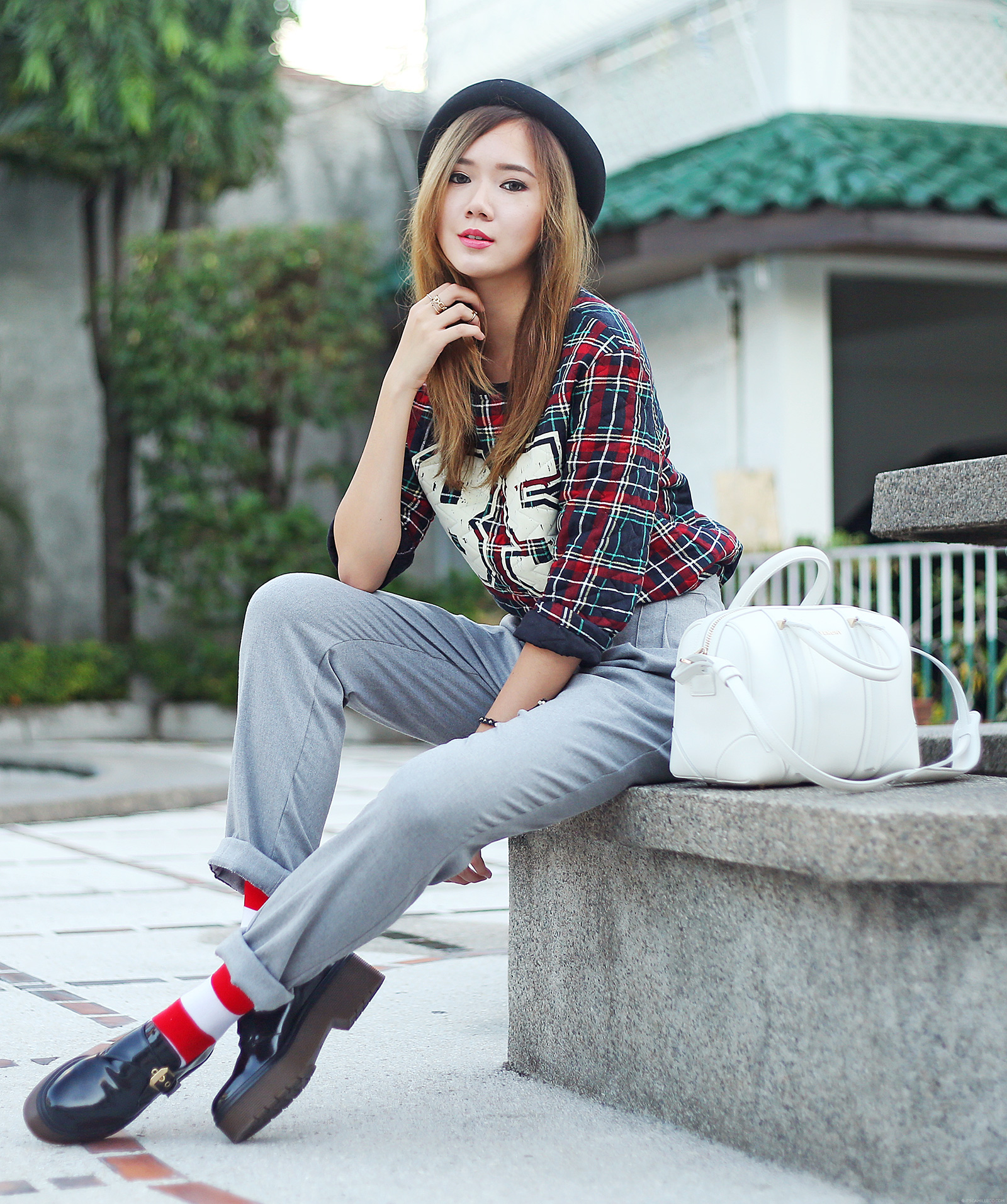 Pull & Bear Plaid Sweater, American Apparel loose trousers, Givenchy mini Lucrezia, Mcdonald's Striped Socks, Zara shoes | www.itscamilleco.com