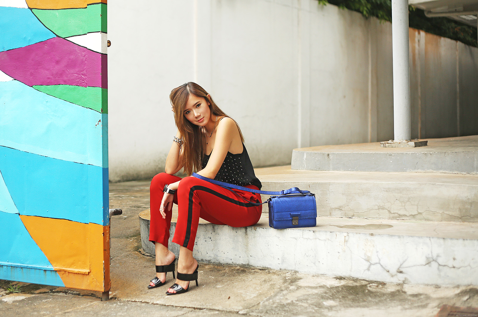 H&M Camisole, Zara Trousers, 3.1 Phillip Lim Pashli Mini Messenger, Alexander Wang Masha Heels, Sporty Chic on www.itscamilleco.com