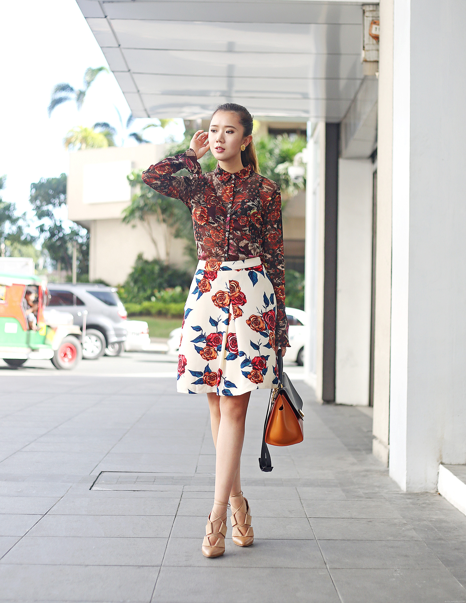 Floral Print On Print Featuring Marks & Spencer top, PB&J Skirt, Alexander Wang heels, Celine trapeze | www.itscamilleco.com