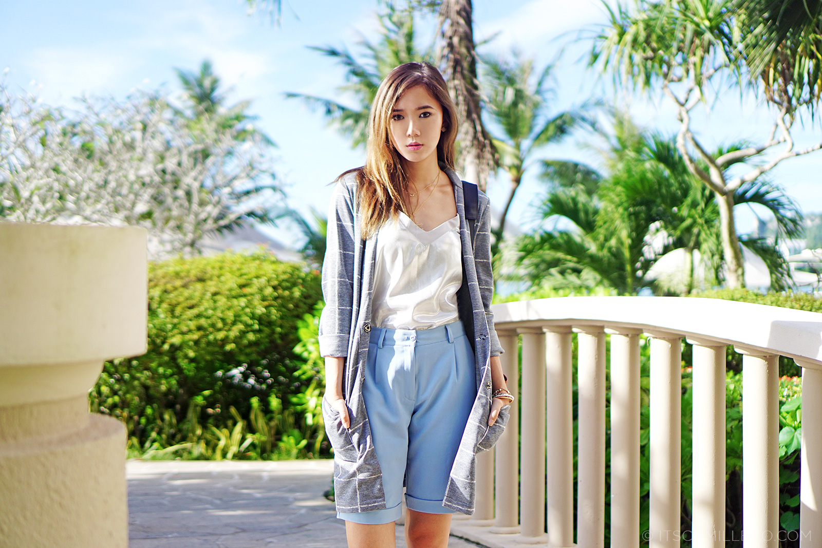 SheInside Blazer, Zara Top, Egoist Shorts at Hyatt Regency Guam | www.itscamilleco.com