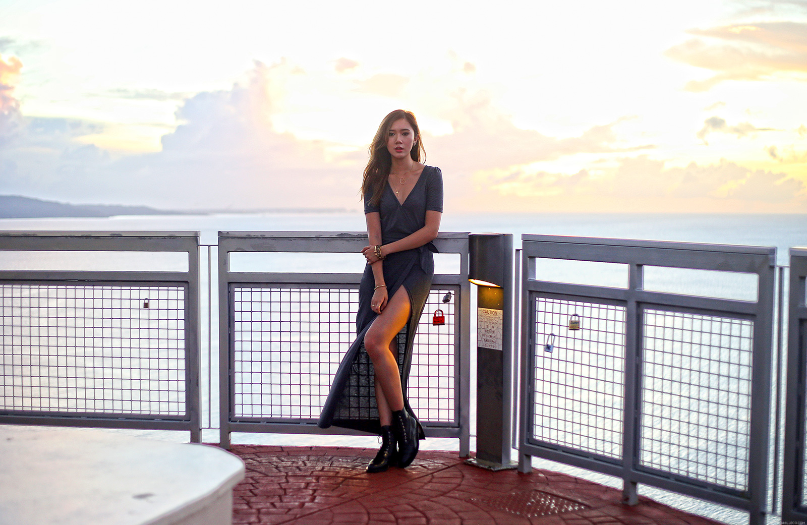 She Inside high-slit wrap dress, Nicora Johns boots At Two Lovers Point, Guam | www.itscamilleco.com