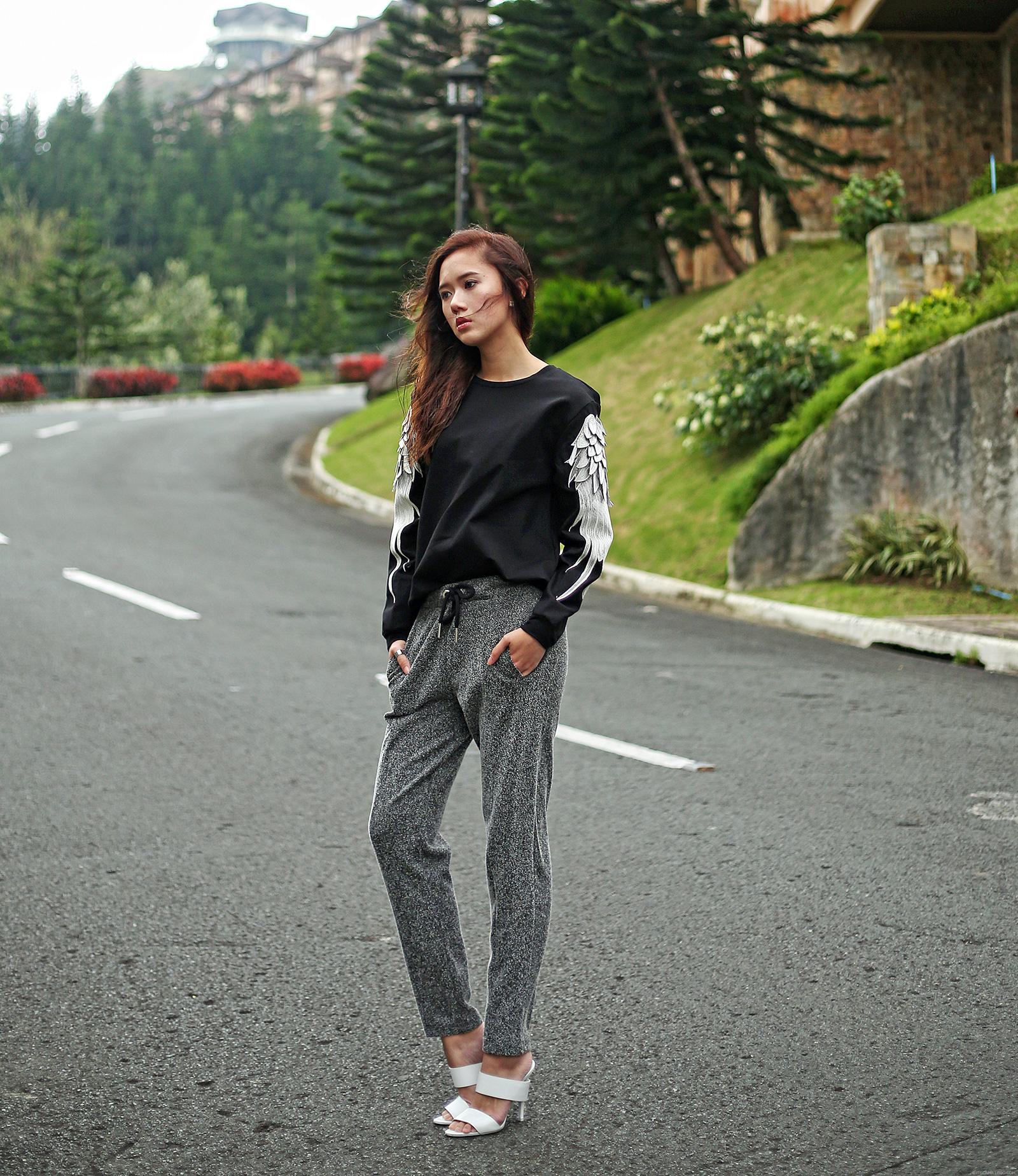 Ji Cheng Sweater, ZARA joggers, Alexander Wang heels | www.itscamilleco.com