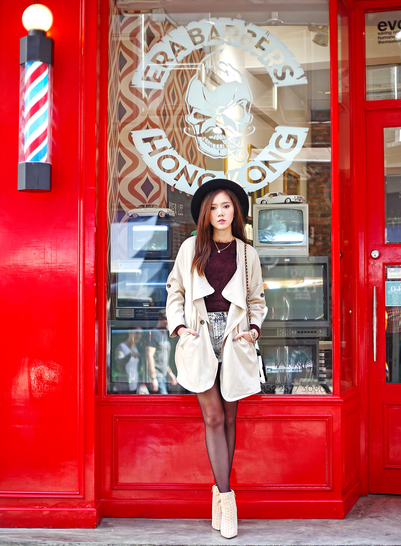 She Inside Coat, Topshop Marsala Sweater, Forever 21 cut=-offs, See by Chloe boots, Moschino bag | www.itscamilleco.com