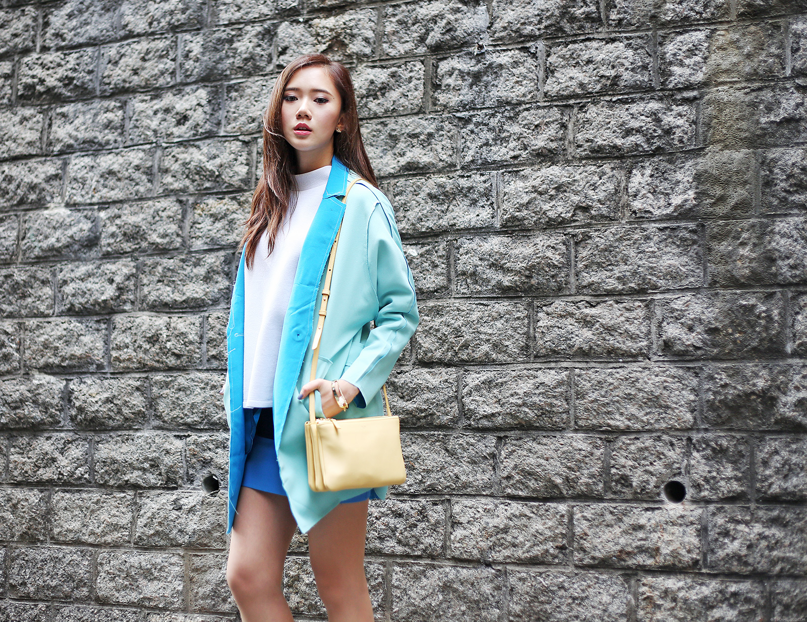 Color blocking featuring Choies Coat, Stylenanda top, BCGB skirt, Celine bag, See By Chloe boots | www.itscamilleco.com