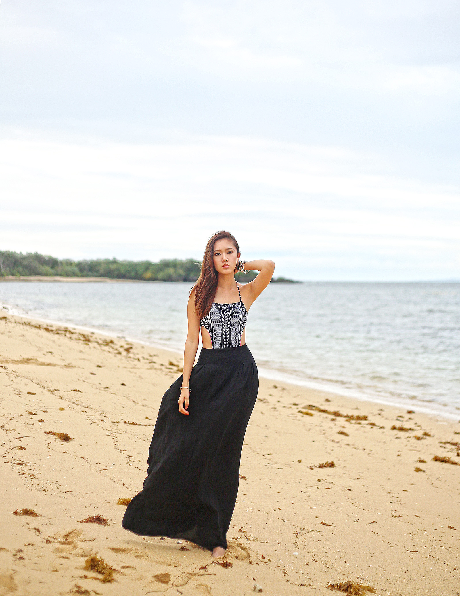 Debenhams one-piece swimsuit, H&M maxi skirt, beach fashion at Balesin | www.itscamilleco.com