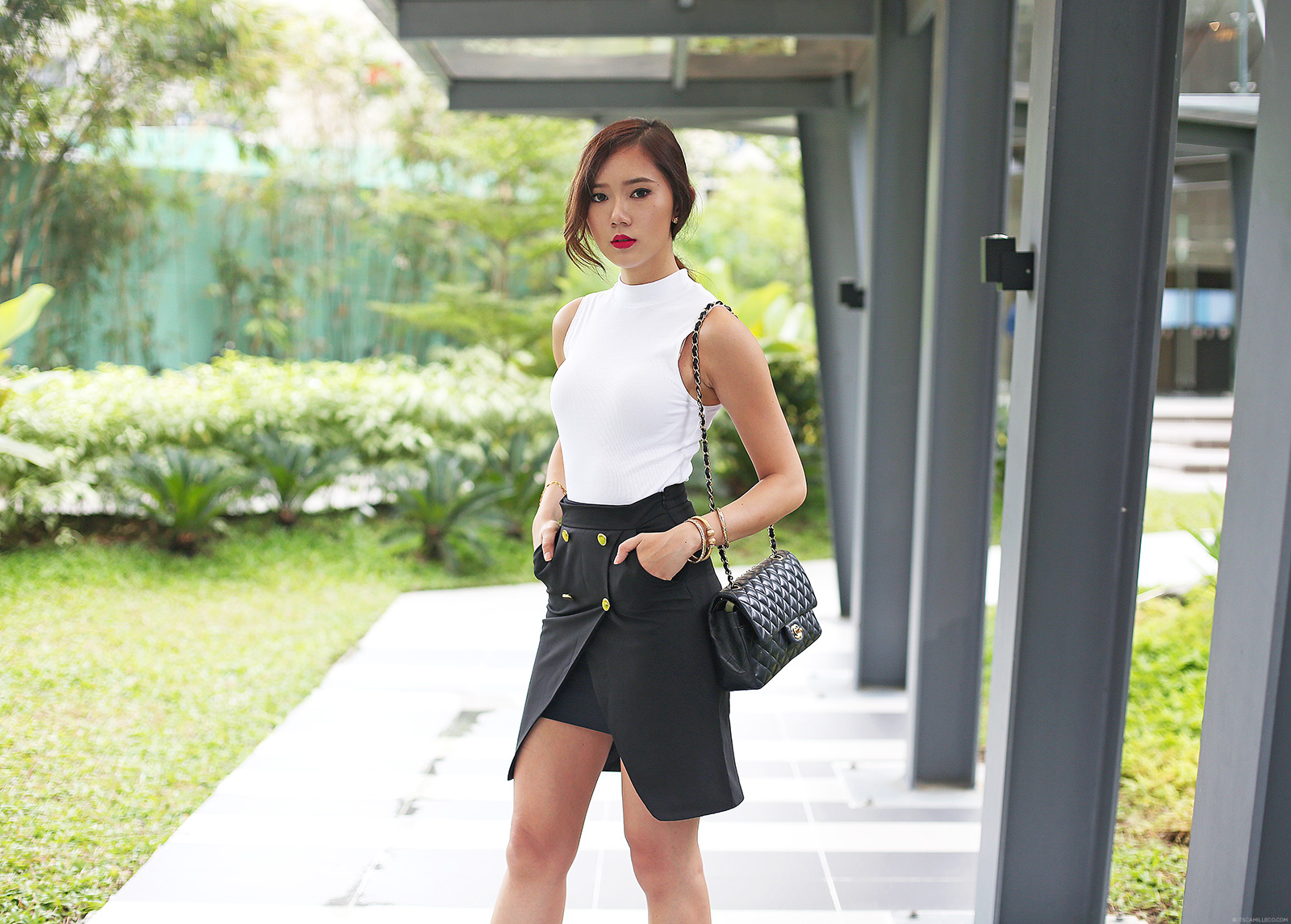 Topshop top, Style Moi skirt, Chanel bag, Gucci shoes | www.itscamilleco.coom