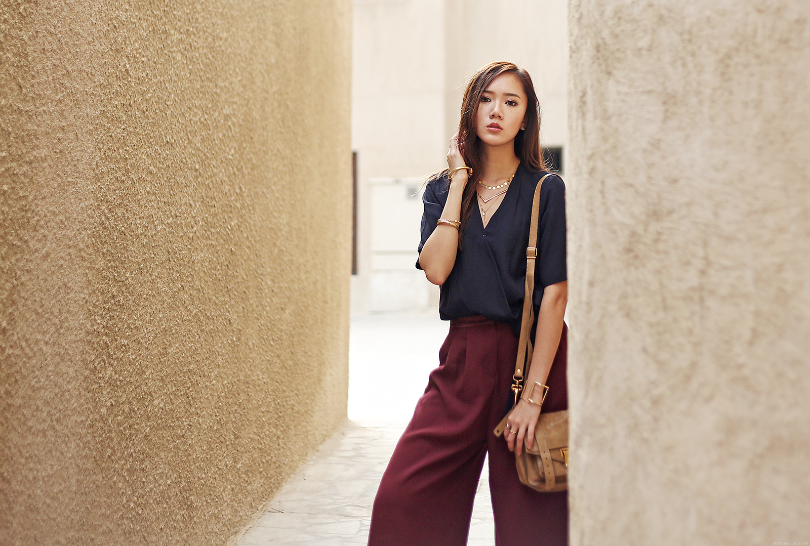 Zara top, Topshop Culottes, Stella McCartney flats at Bastakiya, Dubai | www.itscamilleco.com