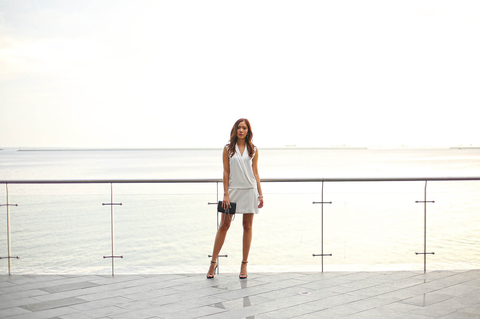 Sandro dress, Chanel wallet on chain, Stuart Weitzman nudist heels | www.itscamilleco.com