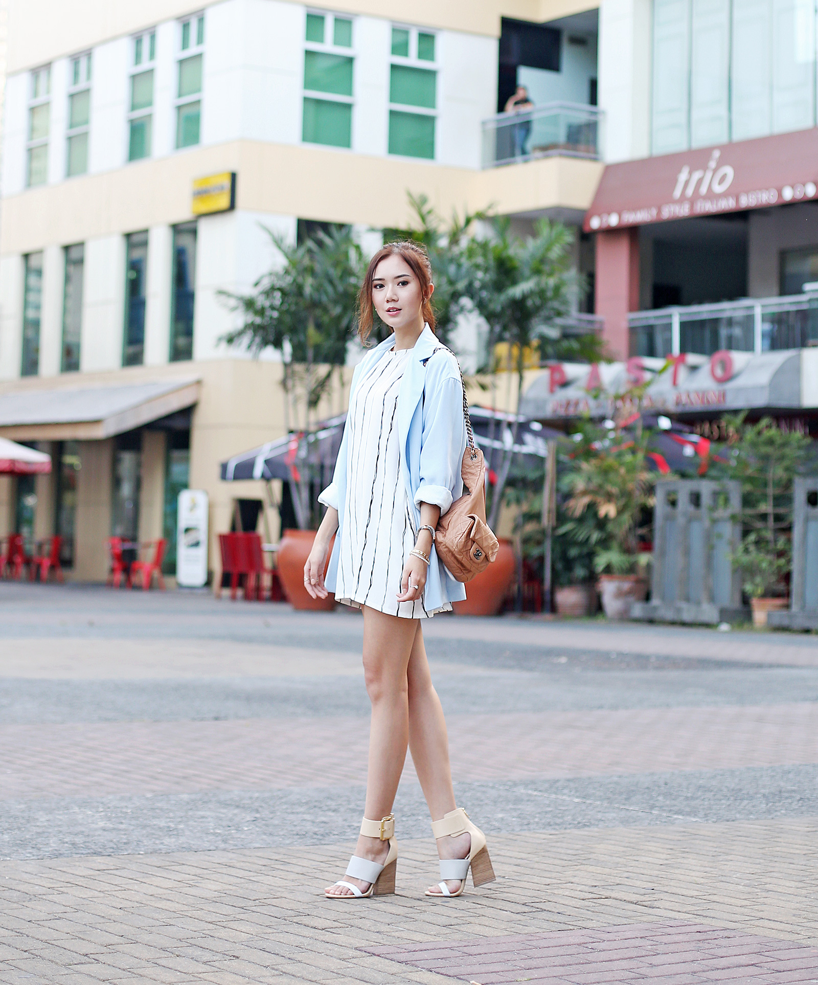 Beginning Boutique dress, Stradivarius blazer, Chanel backpack, Sigerson Morrison heels | www.itscamilleco.com