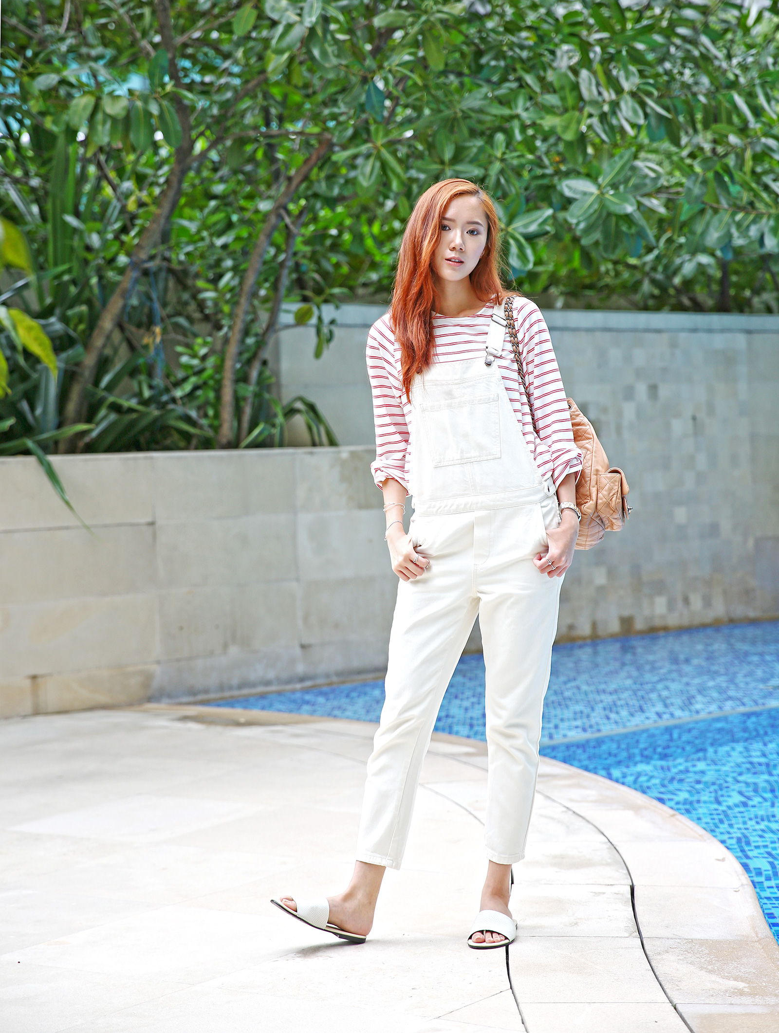 Topshop dungarees, Newbark slippers, Chanel backpack | www.itscamilleco.com