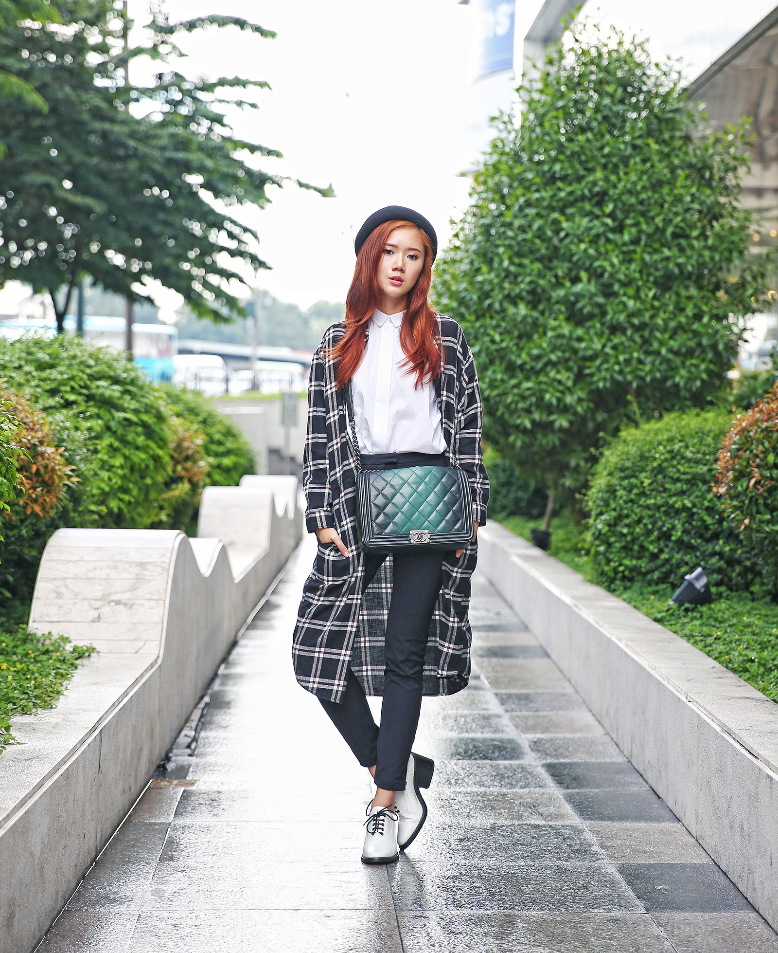 Uniqlo Flannel, Acne Studios, Chanel boy bag | www.itscamilleco.com