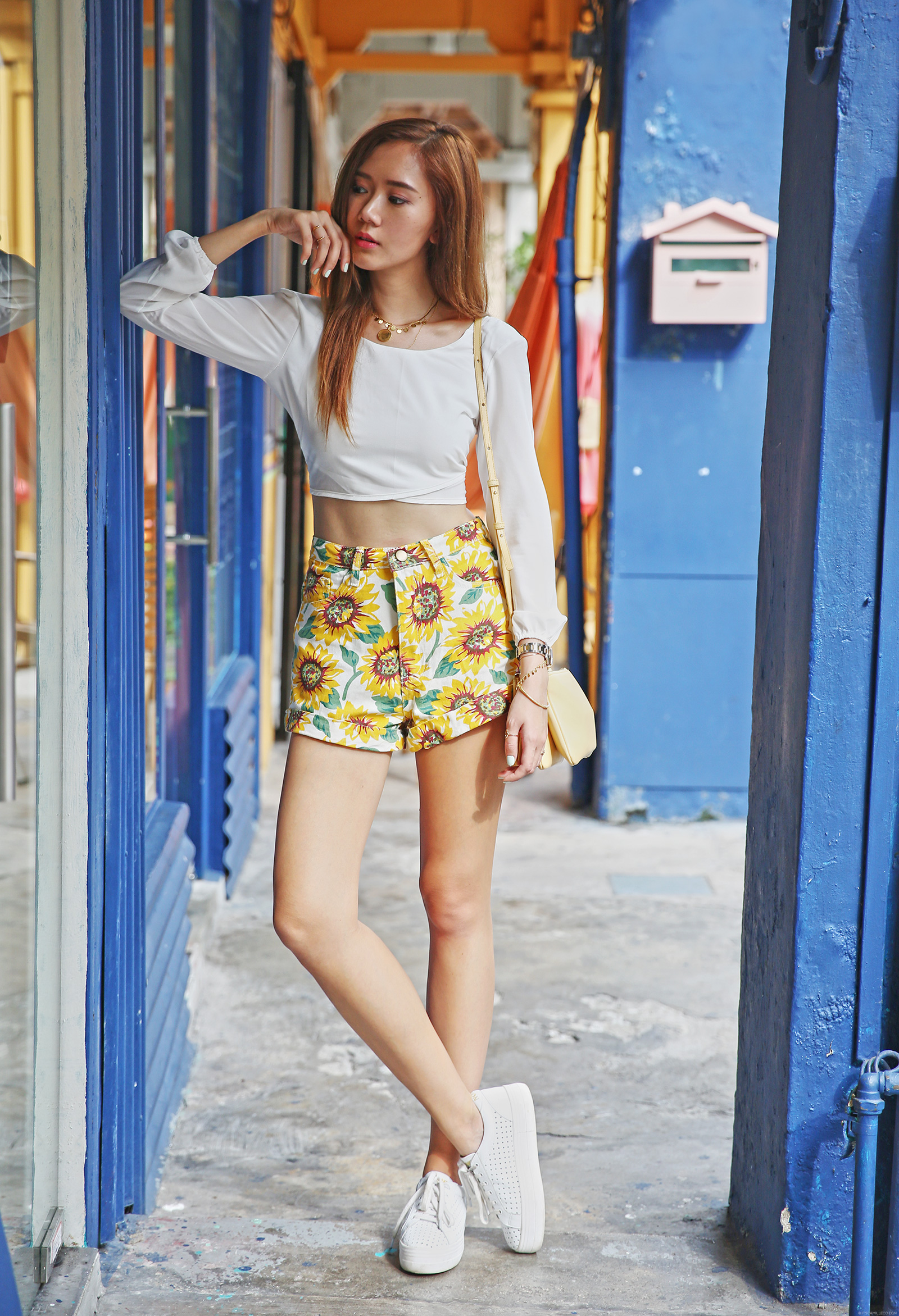 Style Moi cropped top, Shein shorts, No Name sneakers, Ceéline bag at Haji Lane - www.itscamilleco.com