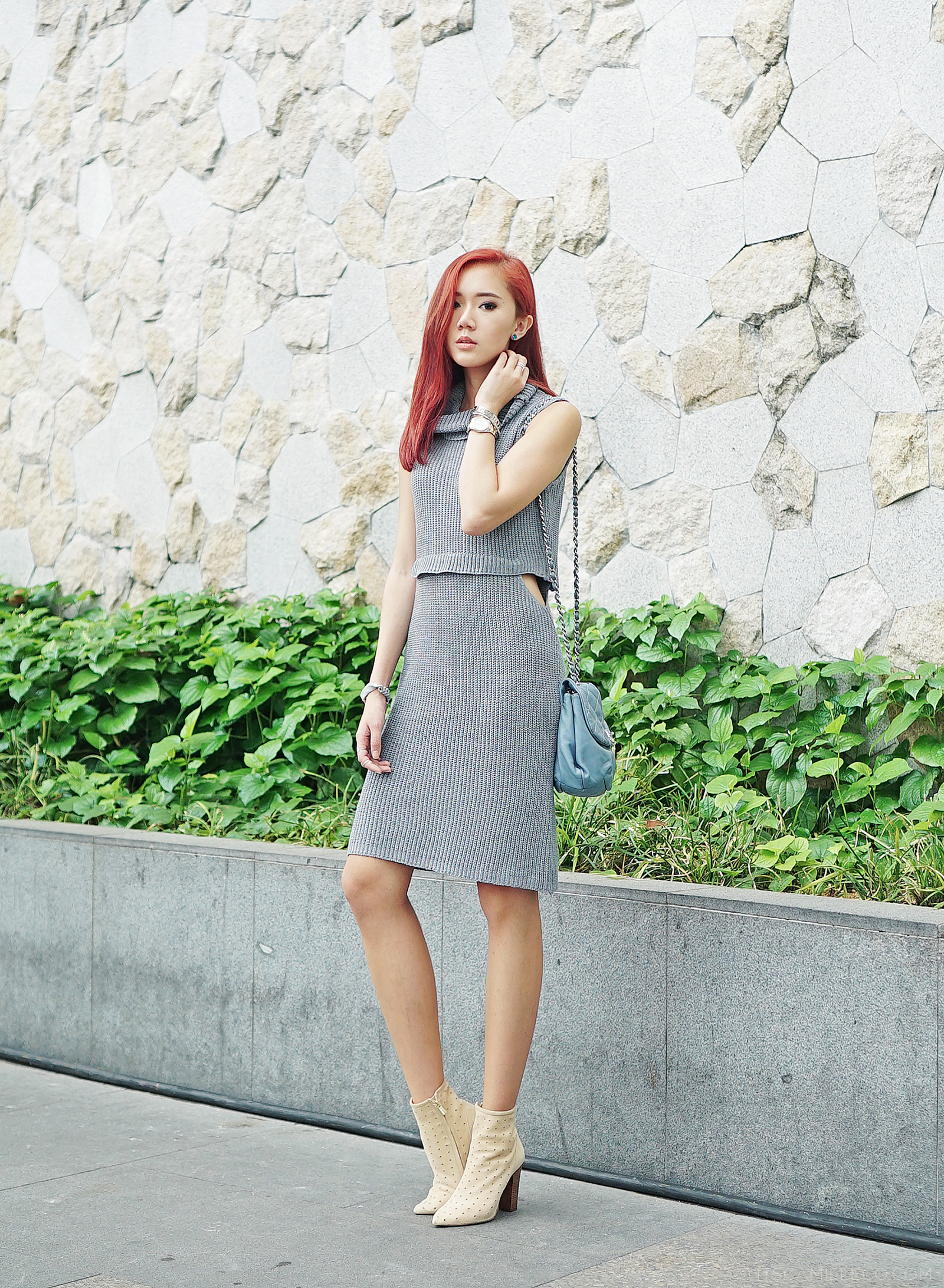 Nelly & Me knit dress, See By Chloe boots, Chanel bag - www.itscamilleco.com