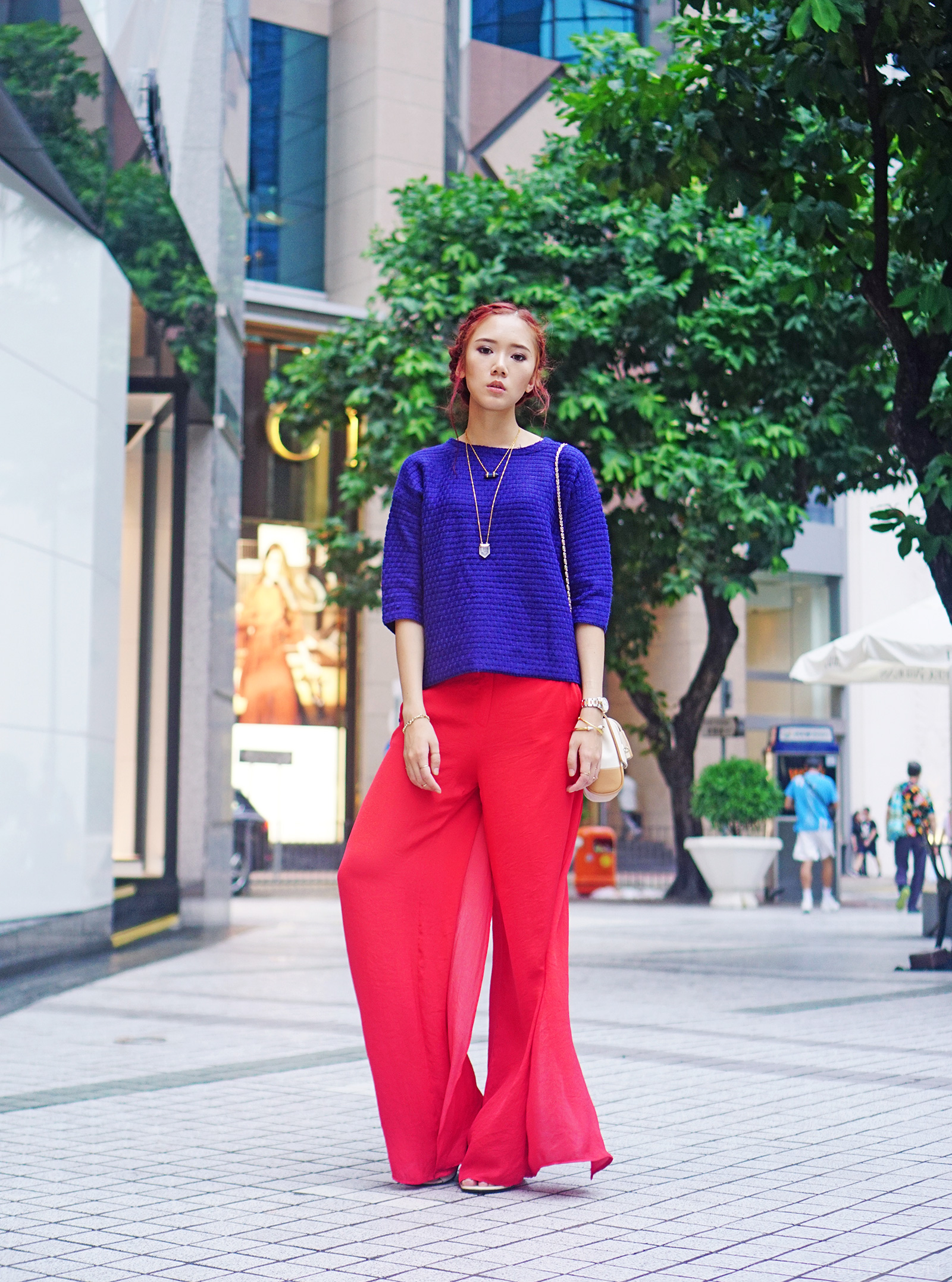 Choies knit top, Zara wide trousers, Newbark sandals, Mulberry bag - www.itscamilleco.com