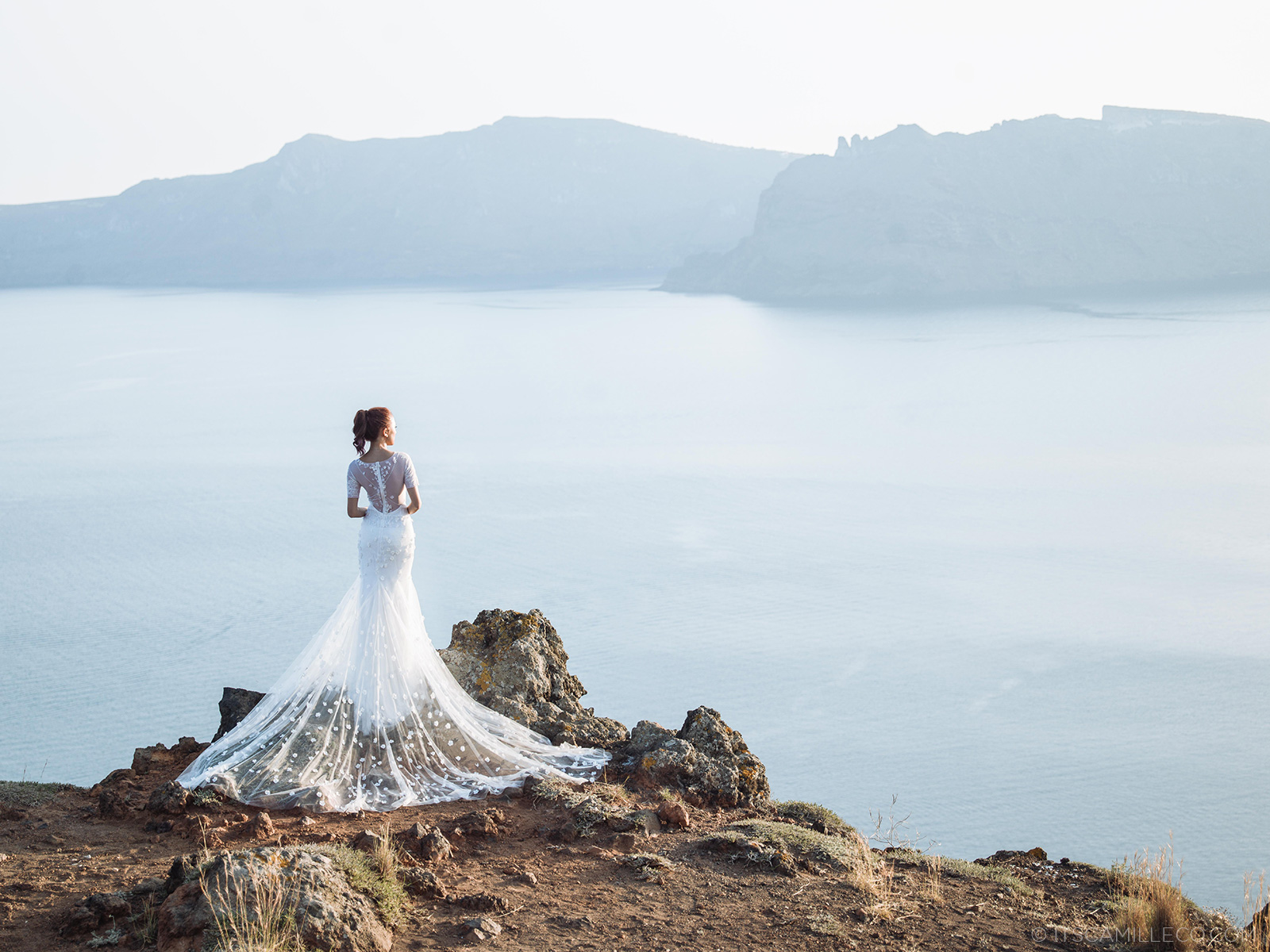 Vera Wang Camilla gown at Sunrise Greece, Santorini - www.itscamilleco.com