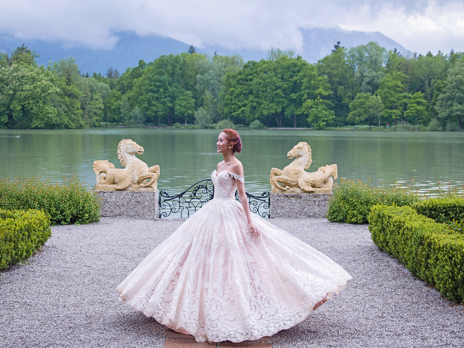 Camille Co lace bridal ball gown in Slazburg, Europe - www.itscamilleco.com