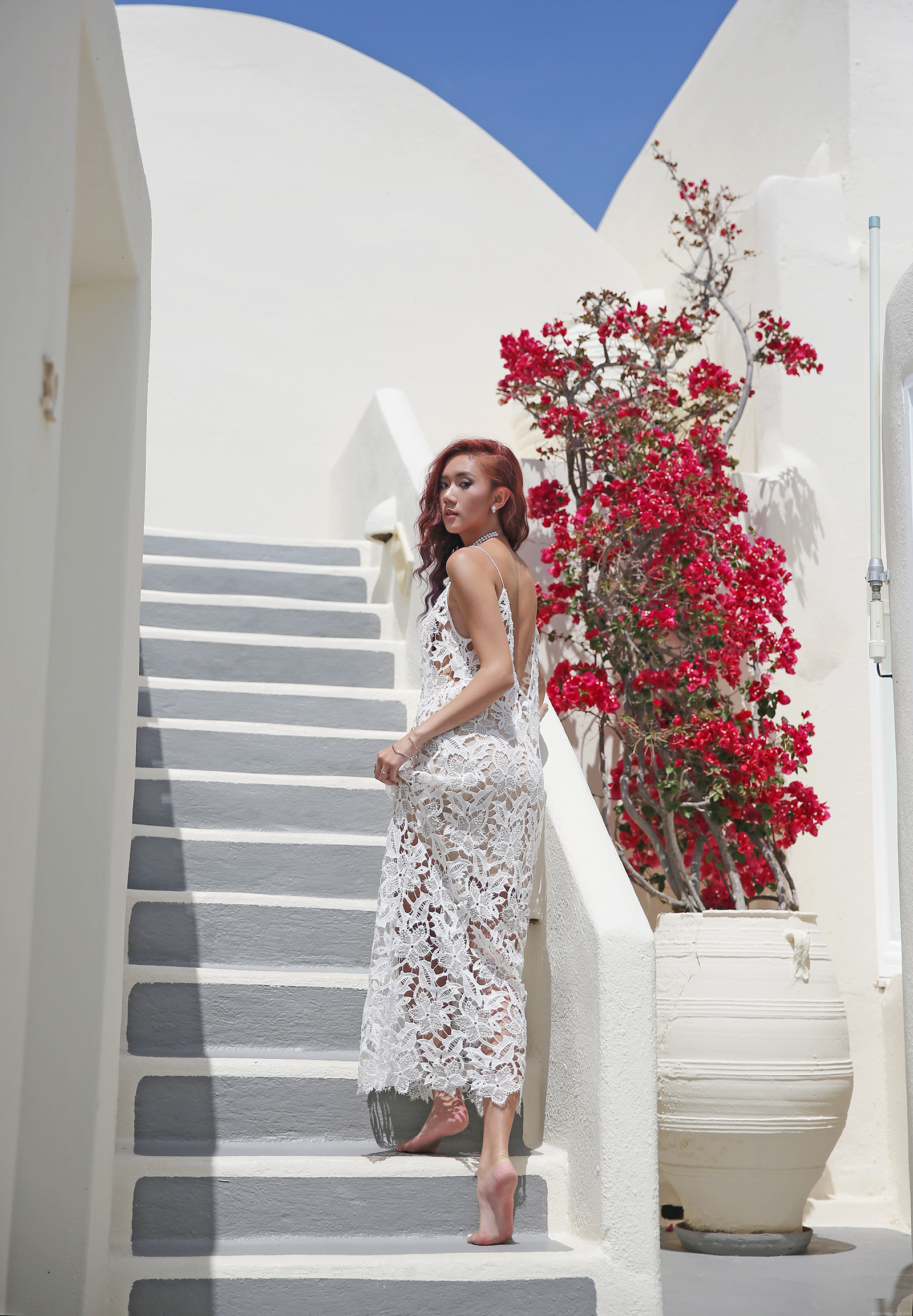 Santorini Fashion, lace dress by Na-kd | www.itscamilleco.com