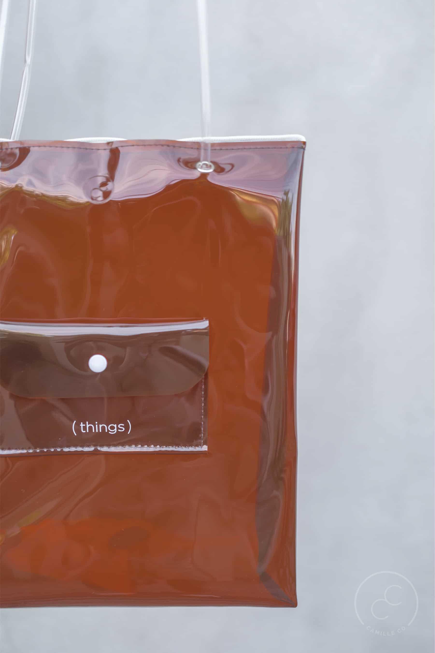 Clarity bag tan print